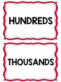 Place Value Chart Display // Red {Polka Dot}