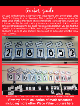 Place Value Chart Display // Red {Stripes}