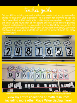 Place Value Chart Display // Yellow {Stripes}