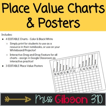 Place Value Chart - Millions through Millionths