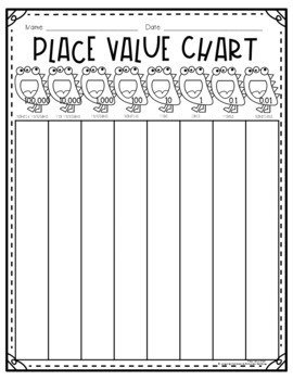 Place Value Chart: Monster Theme