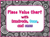 Place Value Chart Poster with Blocks, Cubes Morning Math