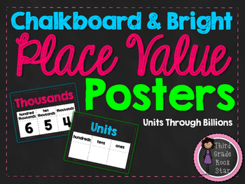 Place Value Chart Posters {Chalkboard & Bright Theme}