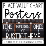 Place Value Chart Posters - Rustic Theme