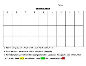 Place Value Chart Practice Classwork
