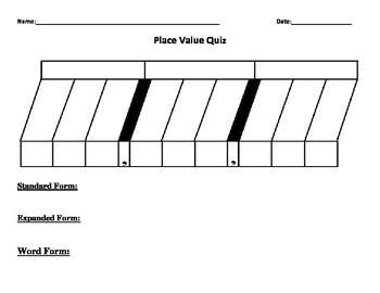 Place Value Chart Quiz
