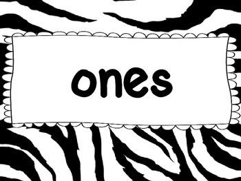 Place Value Chart- Zebra