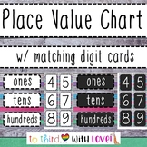 Place Value Chart printable - Woodgrain - rounding - w/ di