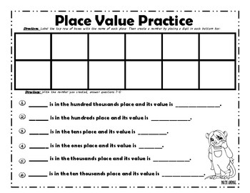 Place Value Chart to Hundred Thousands Practice