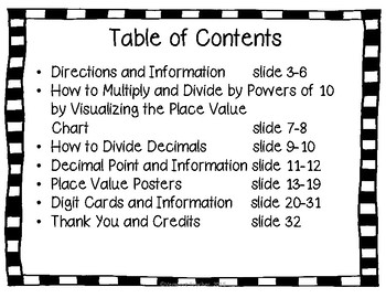 Place Value Chart with Decimals Places- Gray and Black Background