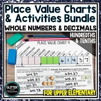 Place Value Charts Activities Billions To Hundredths Bundle