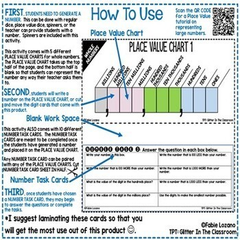 Place Value Charts Activities Whole Numbers Up To Billions