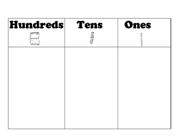 Place Value Charts / Mats : Hundreds, Tens, Ones: Tens & O