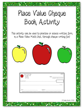 Place Value Cheque Book Activity