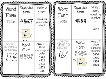 Place Value Choice Boards