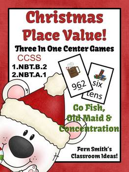 Christmas Place Value Math Center Games for Concentration,