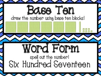 Place Value Classroom Labels (Chevron Themed)