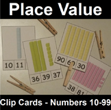 Place Value Clip Cards for Two Digit Numbers with Base Ten Blocks
