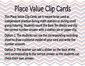 Place Value Clip Cards with Pictorial Model and Digits
