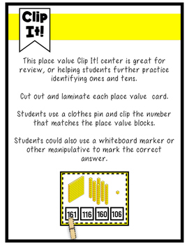 Place Value Clip It! Center- Ones, Tens and Hundreds