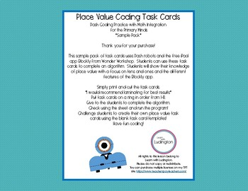 Place Value Coding Task Cards with Dash- Sample Pack