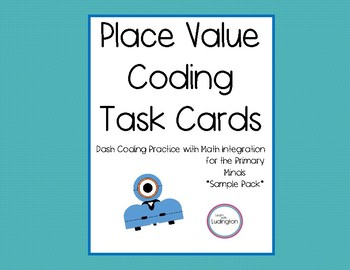 Place Value Coding Task Cards with Dash Robot- Sample Pack