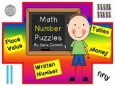 Place Value, Coins and Tally Mark Math Puzzles ~Numbers 1-120