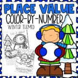 Place Value Color-By-Number Winter Themed