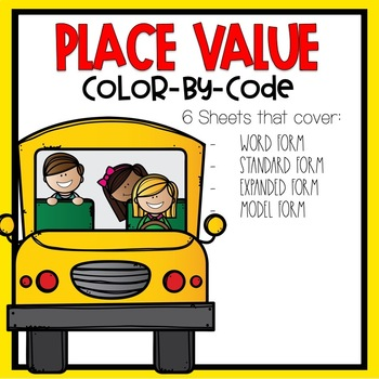 Place Value Color by Code Back-to-School Themed