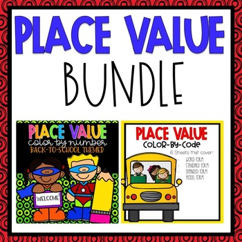Place Value Color by Code Back-to-School Themed BUNDLE