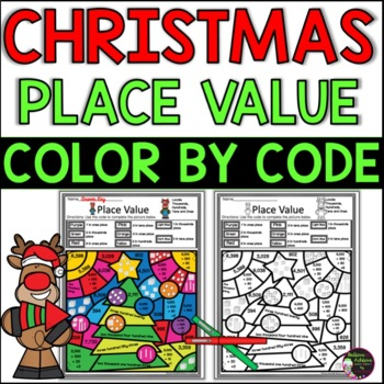 Place Value Color by Code Differentiated: Christmas