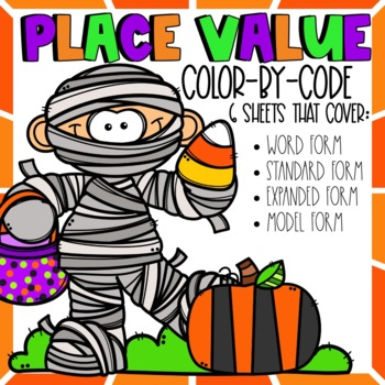 Place Value Color by Code Halloween Themed