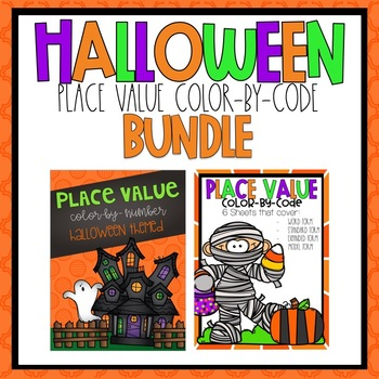 Place Value Color by Code Halloween Themed BUNDLE