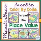 Place Value Color by Code Mardi Gras Picture Activity FREEBIE