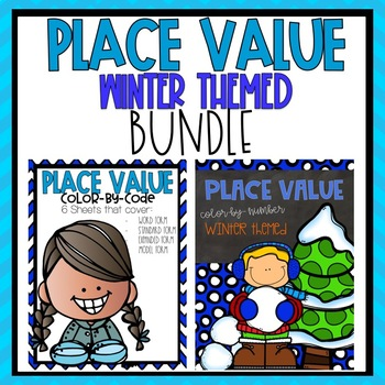 Place Value Color by Code Winter Themed BUNDLE