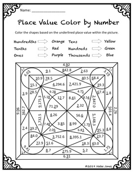 Color by Number Place Value Worksheets