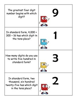 Place Value Common Core - 3rd Grade: Riddle Me This Game