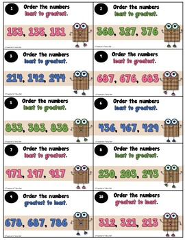 Order and Compare using 3-Digit Numbers Task Cards