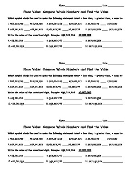 Place Value: Compare Whole Numbers and Find the Value - Quick Check Sheet