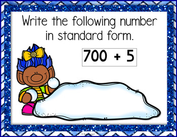 Place Value & Compare and Order Task Cards - Winter Trolls Theme