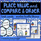 Place Value & Compare and Order Task Cards Winter Trolls Theme