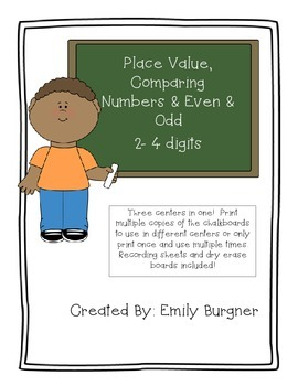 Place Value, Comparing, Even & Odd Chalkboards Center
