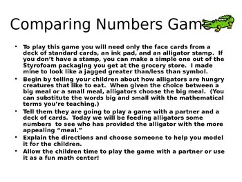 Place Value: Comparing Numbers Game