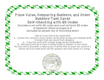 Place Value, Comparing Numbers, and Order Numbers Task Cards with QR Codes