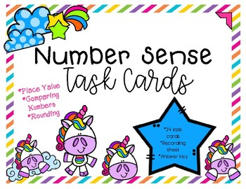 Place Value, Comparing Numbers, and Rounding Unicorn Task Cards
