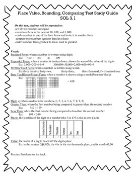 Place Value, Comparing, and Rounding Study Guide