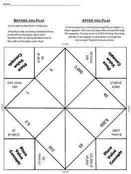 Place Value Concepts Fortune Teller