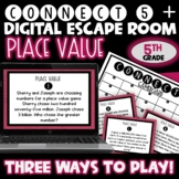 Problem Solving - Place Value Connect 5 Game with Task Cards (5th Grade)