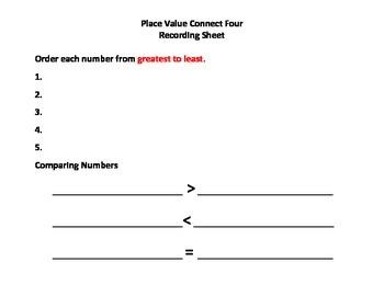 Place Value Connect Four