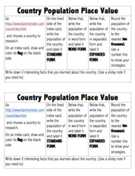 Place Value Country Population Project